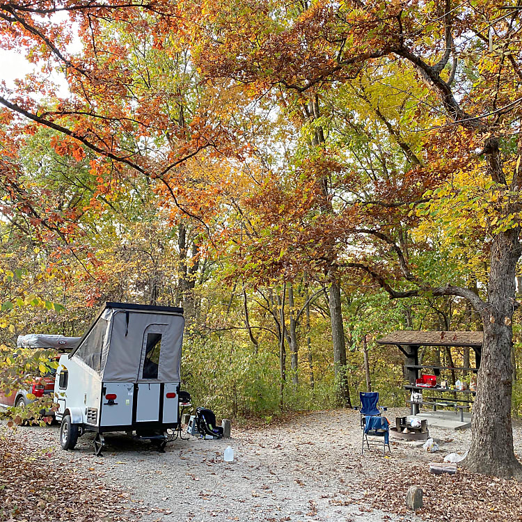 This is Astrid out in the fall just outside of Kansas City! She is so much fun to travel with and so easy to carry around at 1080lbs dry!