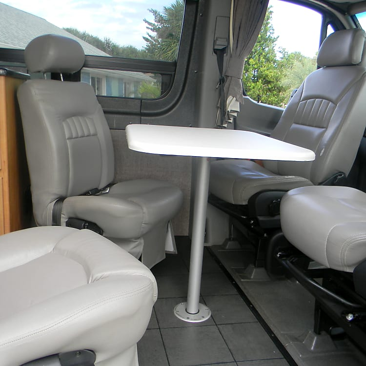 Front seating arranged with table