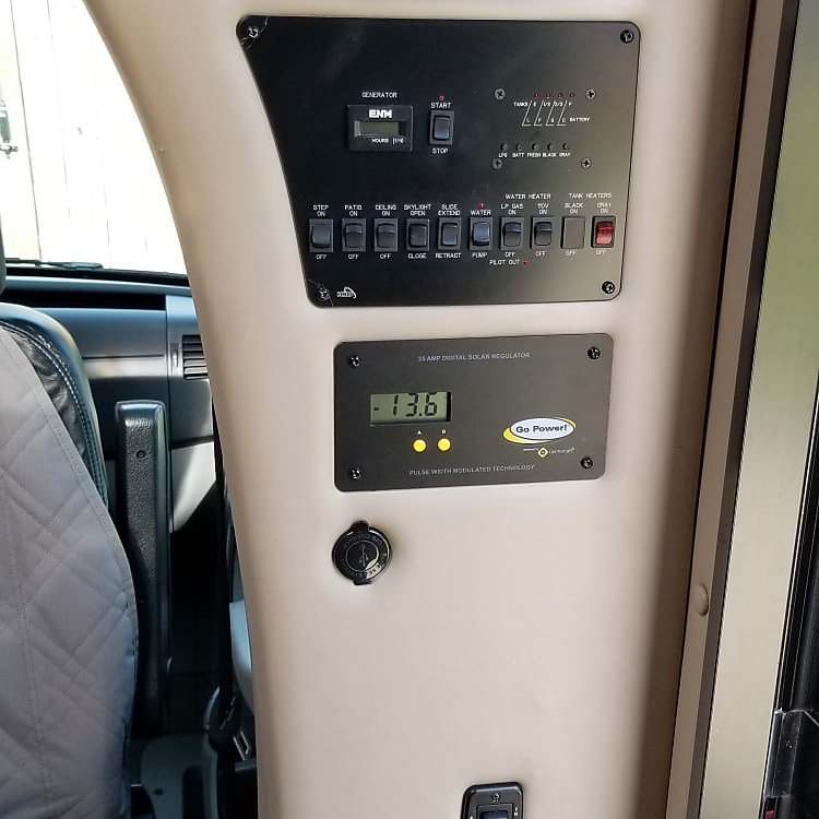 House radio, DVD/CD/AUX player, house control panel, battery & solar status panel, USB port.