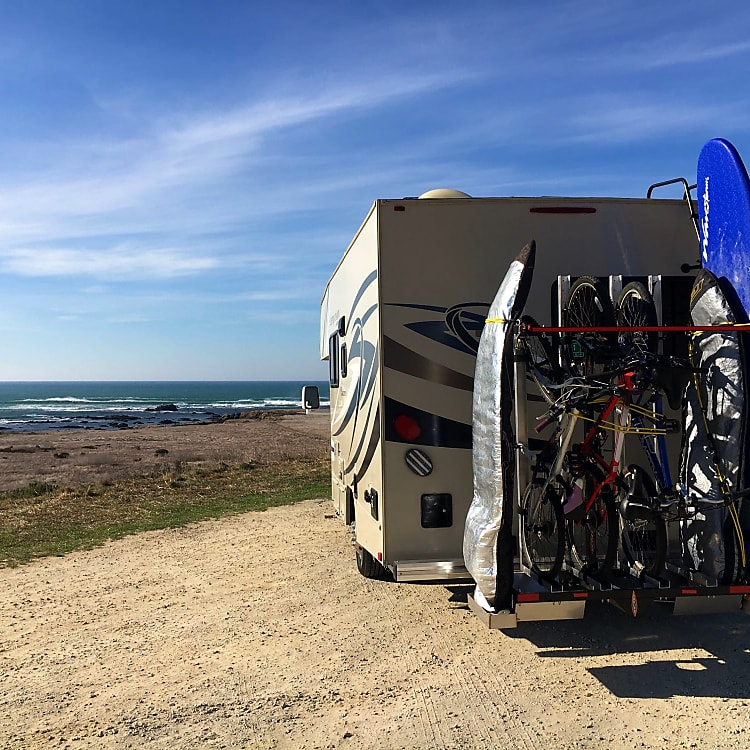 Estero Bluffs State Park showing bike/surfboard rack