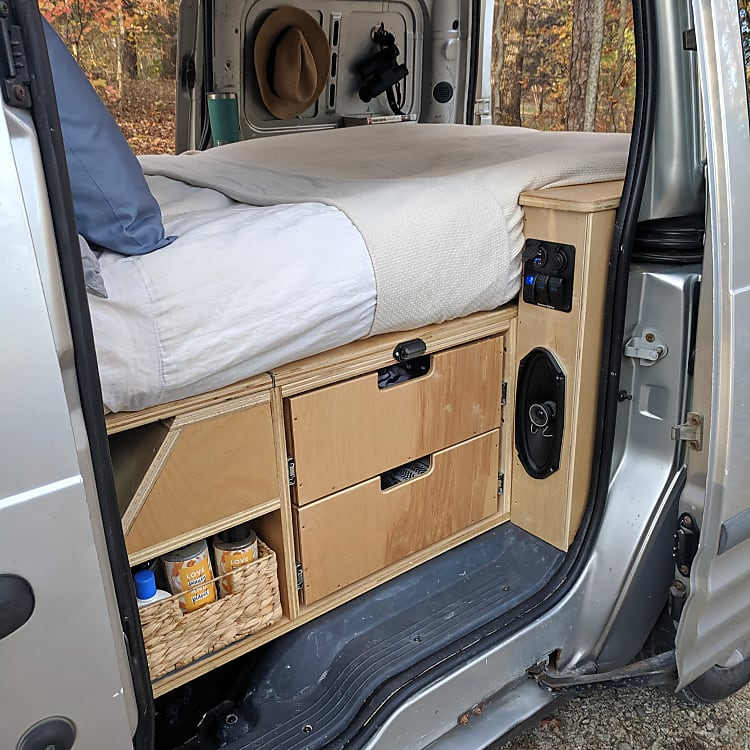 Storage and narrow queen sized bed