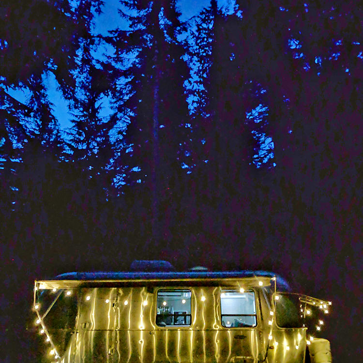 Everyone loves the look of an Airstream, especially with the awning out and lights hung for a hip camping feel!