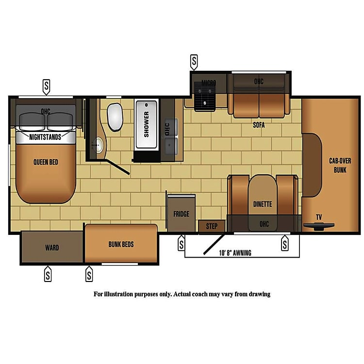 Jayco Envoy floorplan.  Sleeping for 8, including bunk beds