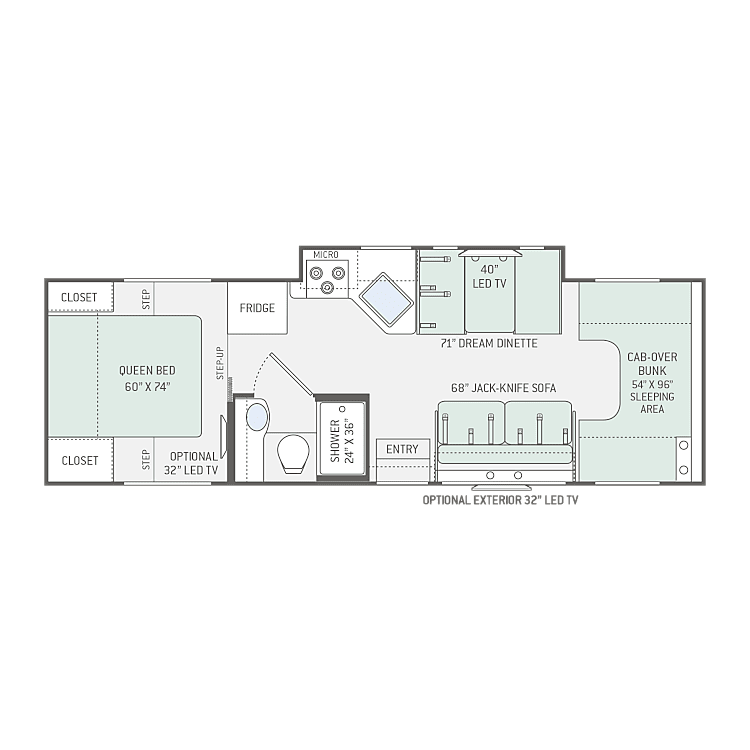 Chateau Thor 28Z Floor Plan gives you an open concept in the living space. Privacy curtains in the rear & front sleepers.