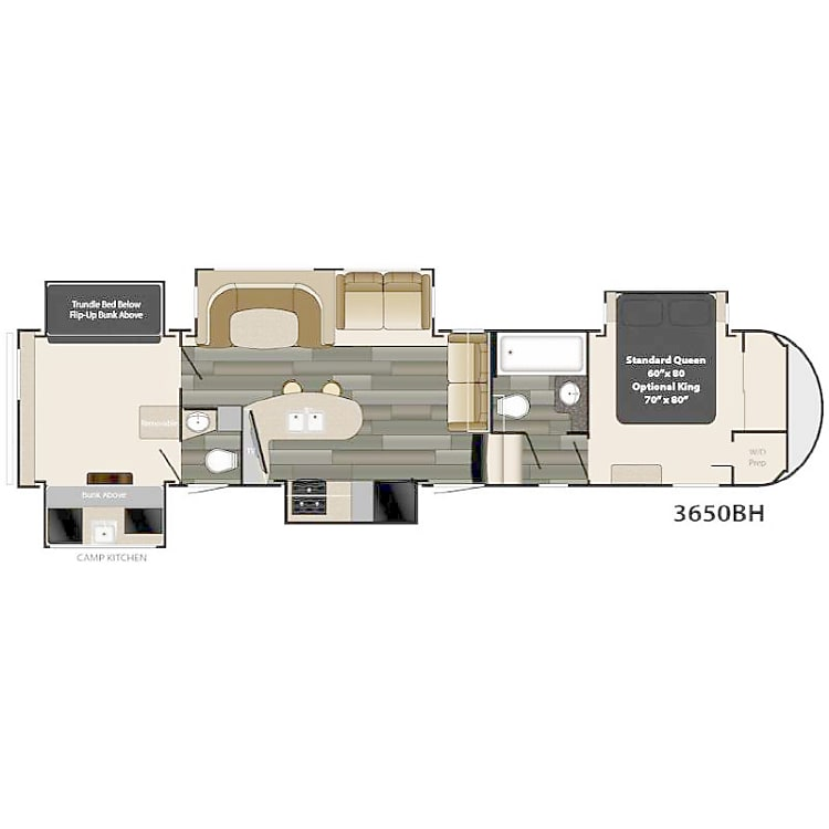 Floor layout (king bed in master)