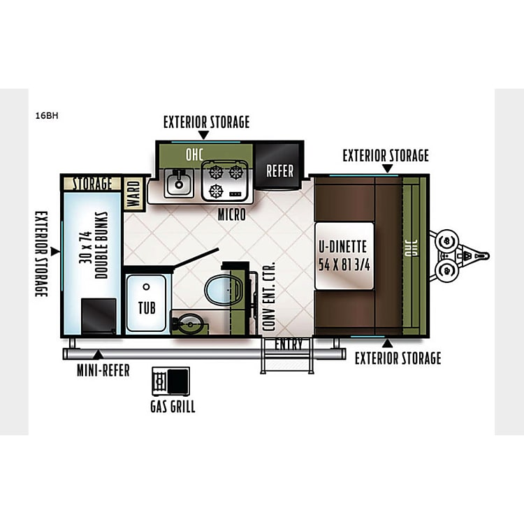 Great layout - bunkbeds in back and the kitchen slideout make it very roomy.