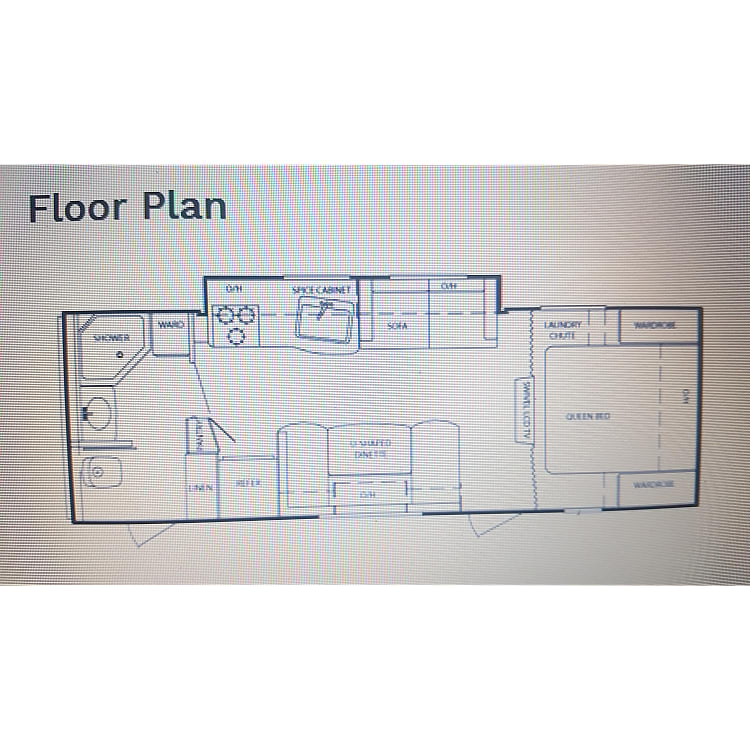 Floor plan is great. 2 doors make using the restroom a breeze without walking thru the whole camper..