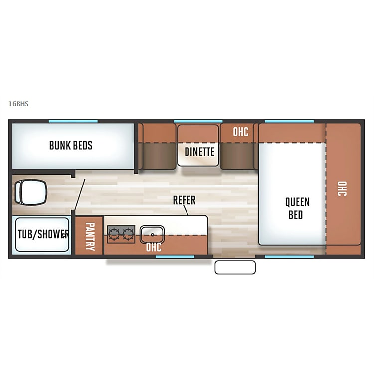 Our floor plan has a minor change due to the large fridge and freezer. It has more storage cupboards under the cook prep area) This well thought out floor plan makes this Lightweight camper a perfect little home away from home while your Glamping ( it's camping in nature while still enjoying the glamour and amenities of home.) other than that it's the same.