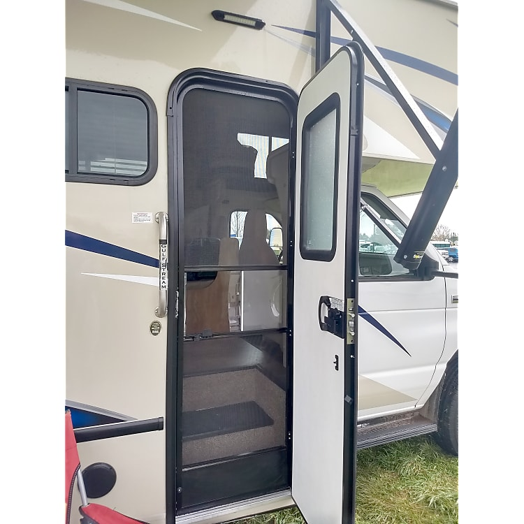 Side door has a screen door attached for when you are parked to provide airflow.
