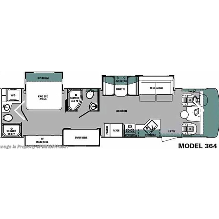 Floor plan - not pictured is extra bunk over drivers seating, folds up/down as needed