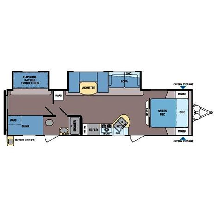 Floor plan includes separate sleeping areas with doors for privacy from main kitchen and living room area.
