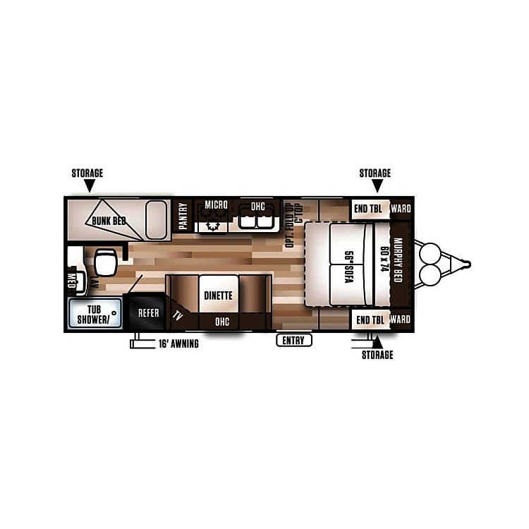 Floorplan of the 2019 Wildwood by Forest River 201BHXL measuring 24 feet on the exterior and 21 feet on the interior