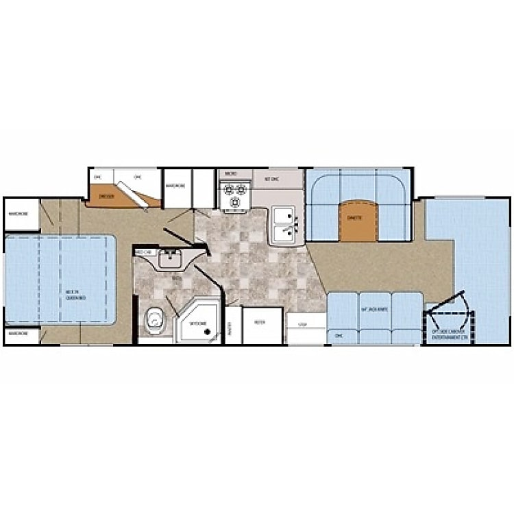 Floor plan with slide out extended. The slide opens the hallway and makes the whole unit larger since it is a full body slide.