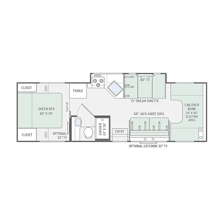 Floor plan for 2019 Four Winds 28z. Options may vary slightly. Interior photos coming!