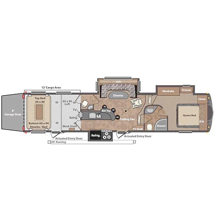 Floor plan of 40 ft Toy Hauler