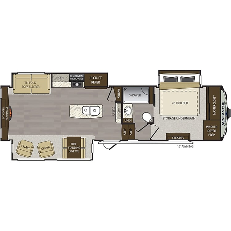 This trailer has great floor space for enjoying your time even when your inside!