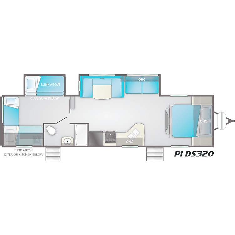 Floorplan.  Notice sliding doors for the front and rear bedrooms, separate bathroom entrance.  Convenient dual master bed access