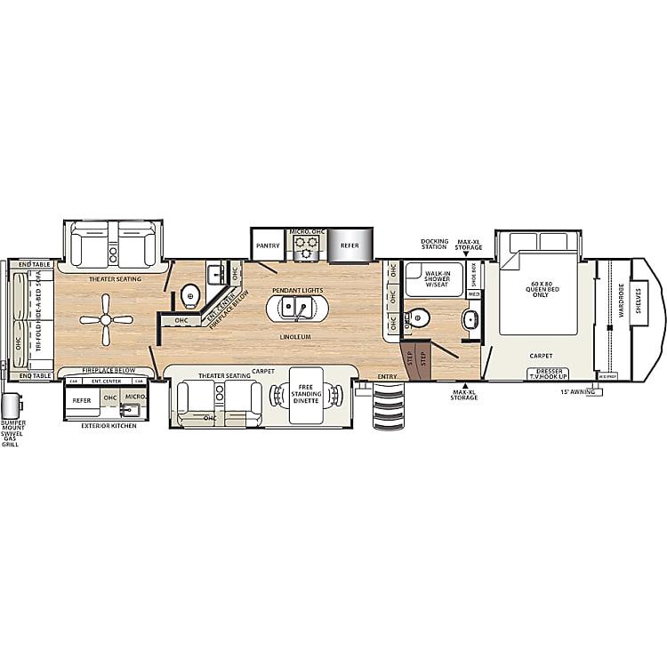 Floor plan on the 387MKOK.