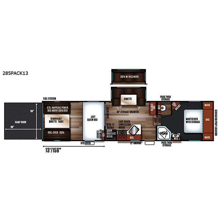 RV floor plan is with the reclining sofa option