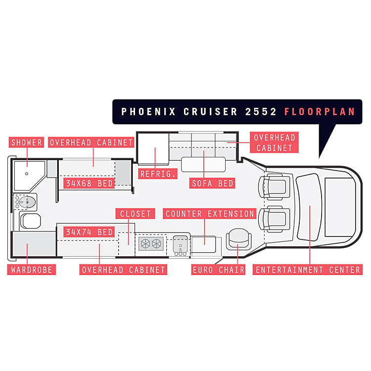Layout of Phoenix Cruiser 2552.   Built on the E-450. With rear twin beds, a standard slide, the 2552 model has quickly become a favorite. The 2552 has an additional reclining chair that allows you to live in comfort while driving an RV that will take you anywhere.