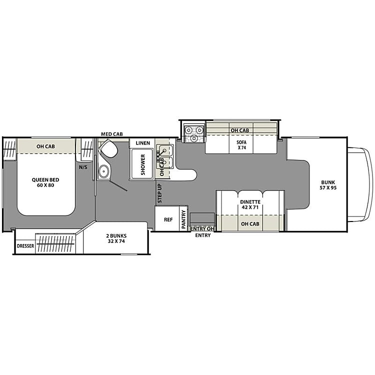 Spacious floor plan with 2 slide-outs makes for comfortable living on the road