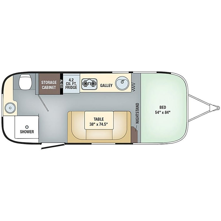The layout of the Airstream. The perfect small camper for a couple or a family of up to 4.