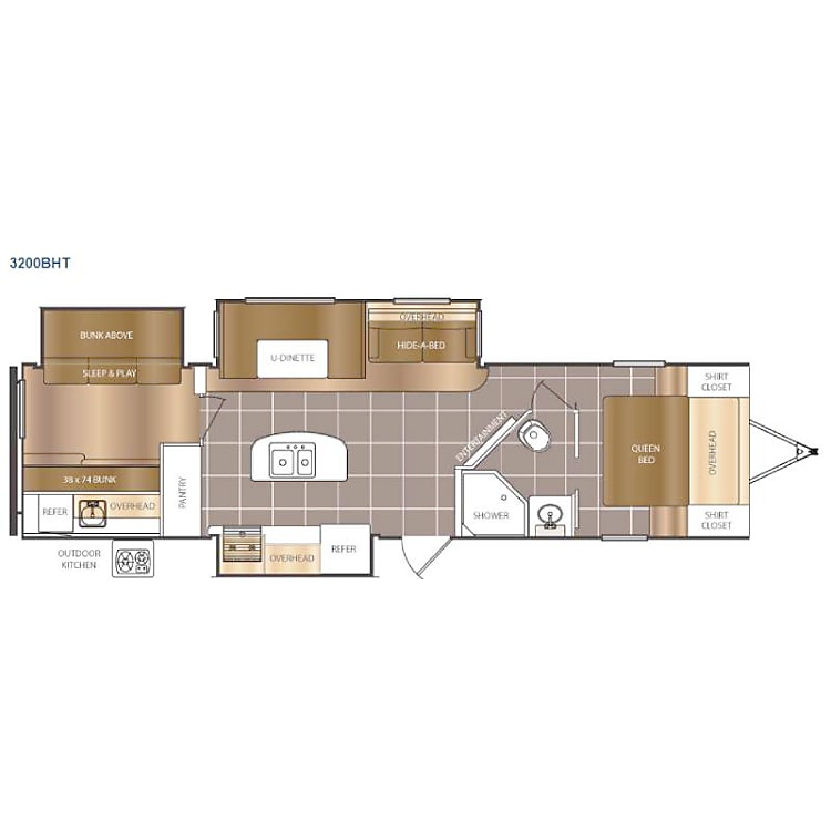 Our preferred layout for groups of 4 to 8. The kids will love their own bunkhouse space.