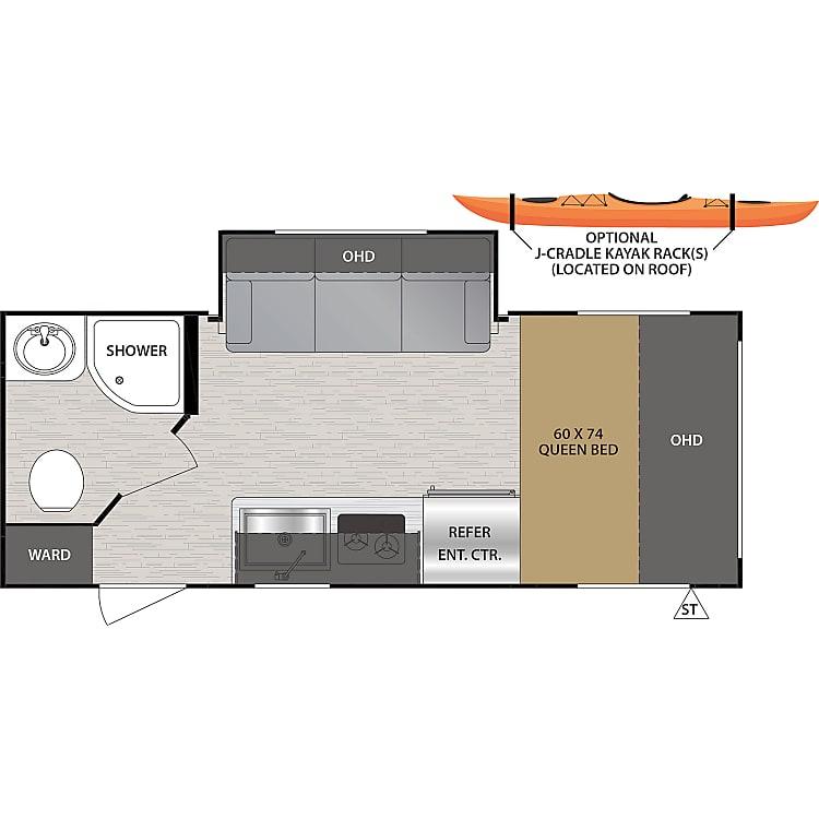 NOBO's floor plan - lots of windows to connect you with the outdoors!
