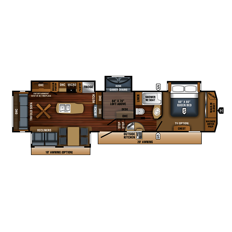 FYI The image is the factory floor plan. OUR model has a King size bed in the master, a pull out couch instead of the gaming chairs and a residential size refrigerator.  Those are NOT shown in this image. You can see them in the pictures.