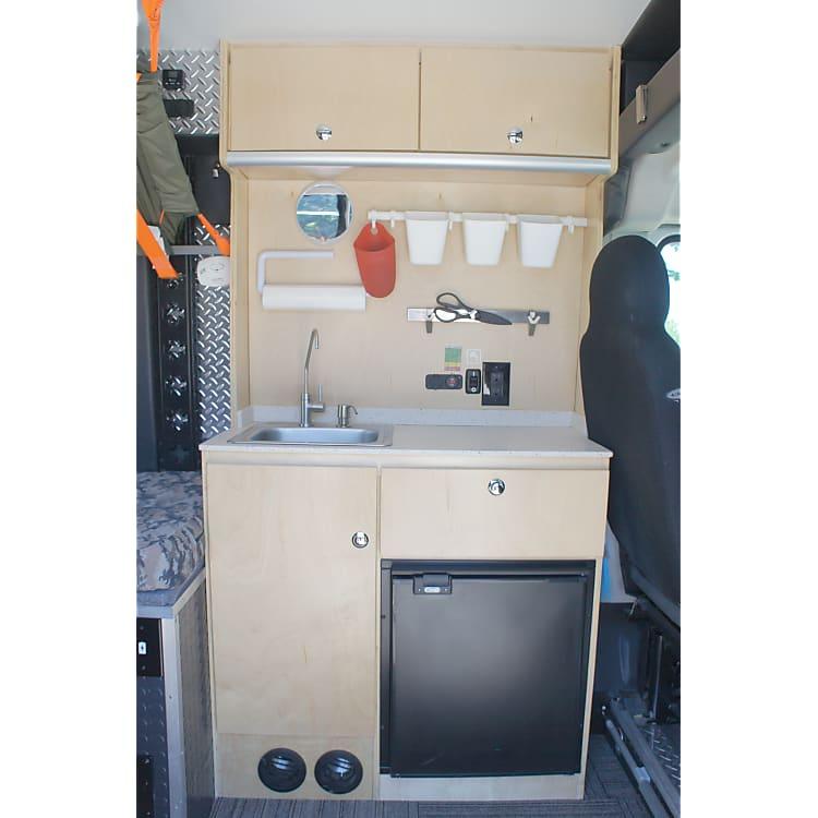 Kitchenette with Sink, Refrigerator, Storage