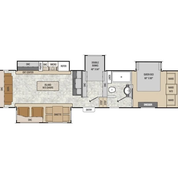 Floorplan with spacious kitchen, separate 2nd bedroom