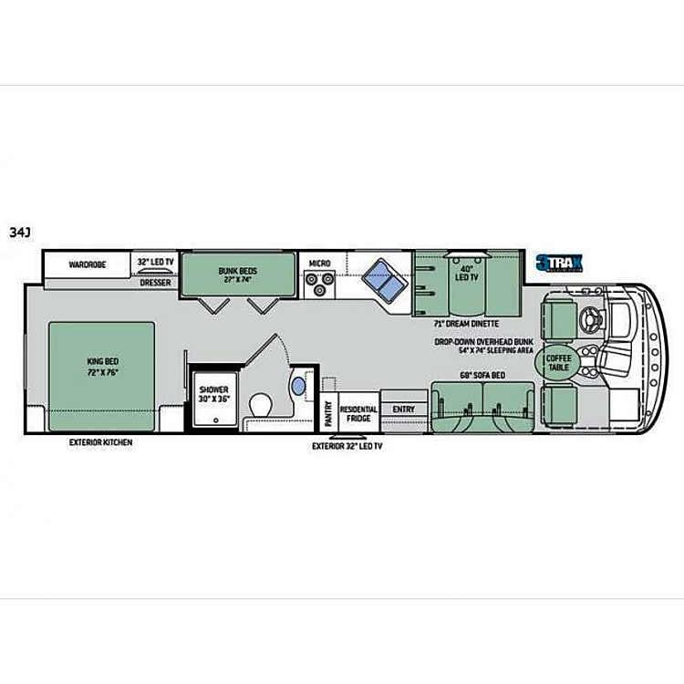 Please note this is a stock photo of floor plan - rig has NO TV outside or in Master