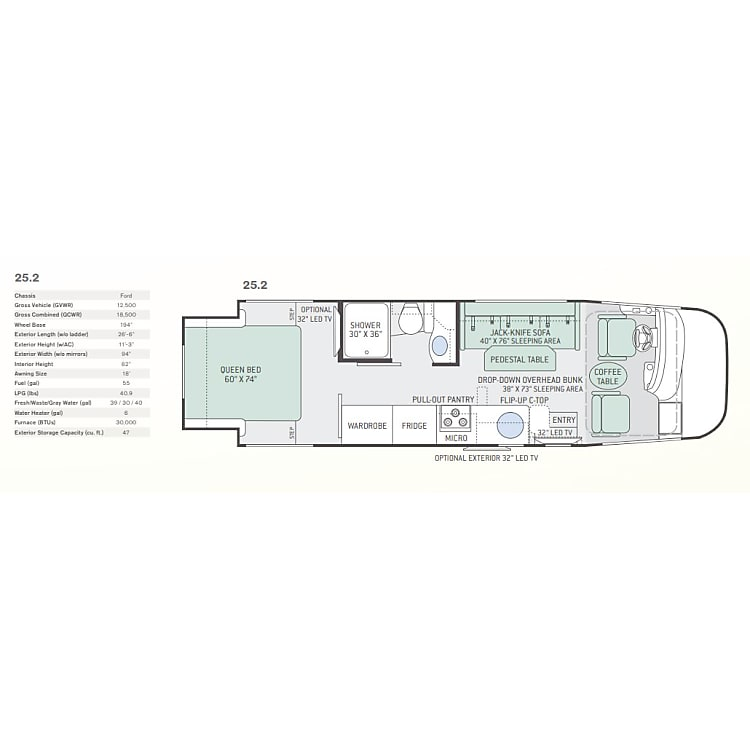 Floor plan of the 25.2 Axis Thor.