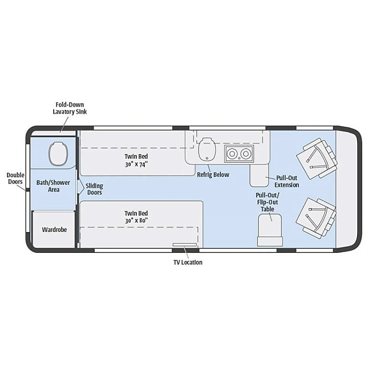Bath, Beds, Galley...the perfect floor plan
