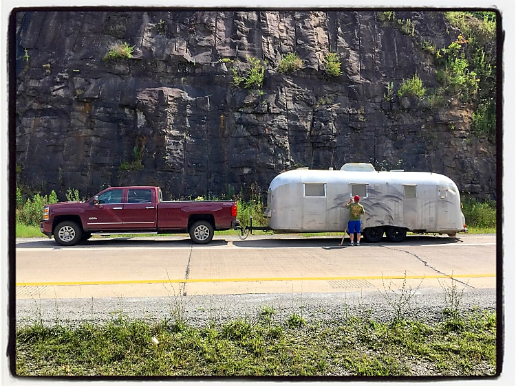 In western Pennsylvania, towing Mahogany (our 1961 Airstream Overlander) for the big restoration.
