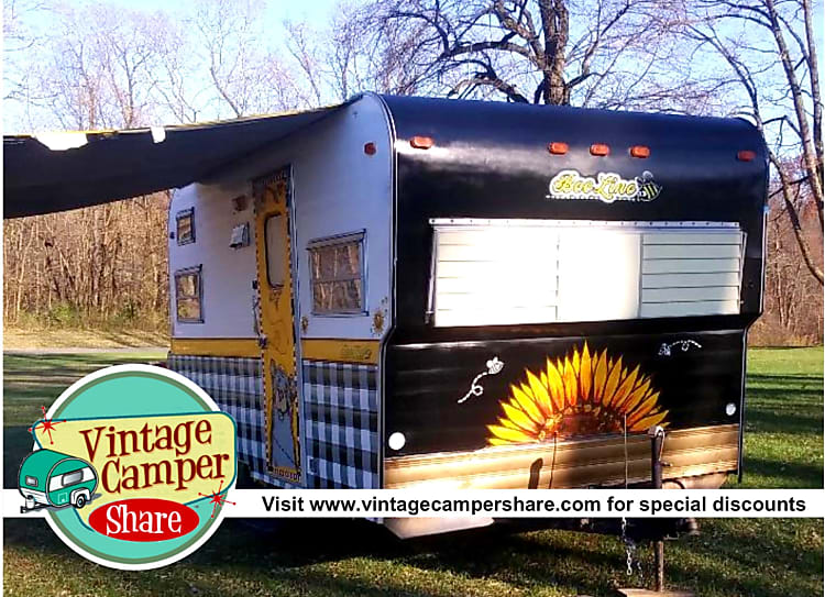 1971 Beeline Vintage Camper, called The Bumblebear. Visit www.vintagecampershare.com for discount packages and to view 5 other vintage campers available for rent