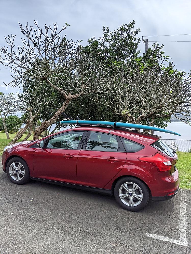 Optional surfboard rack add-on