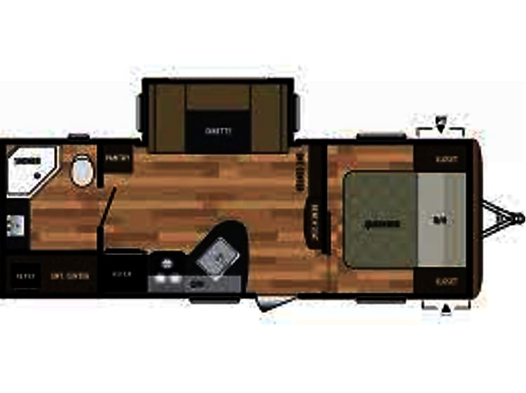 One Queen Bed in private master, two large bunk beds, one convertible kitchenette bed and a large bathroom. Easily sleeps 5-6 people. Great storage and entertainment center.