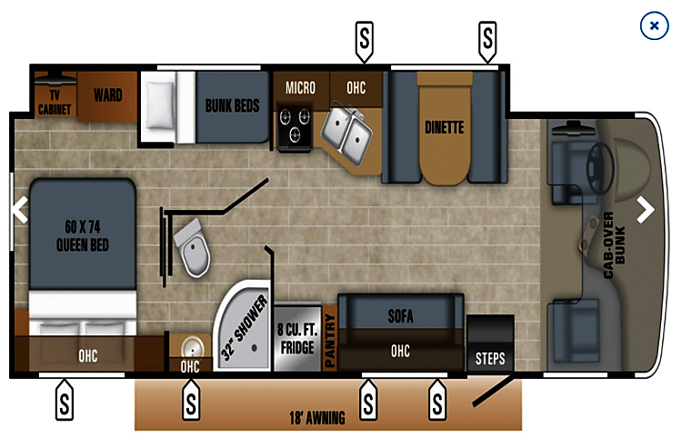 Roomy lay out, with plenty of space to move around plus beds for the whole family