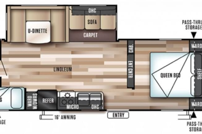 Floor plan.  Can sleep up to 9 total (2 adults on queen bed, 2 adults on dinette, 3 adults or kids on triple bunks & 2 small kids on sofa).  See details in other pics.