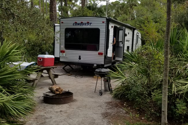 This is the back of our RV. We were camping at Cape San Blas.  Beautiful State Park.  It has the big window so you can have a great outdoor look.
