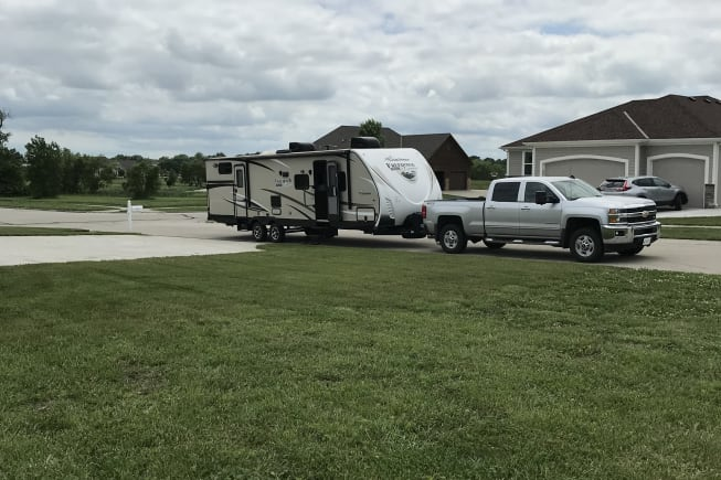Our rv hooked to our truck after a trip we just took