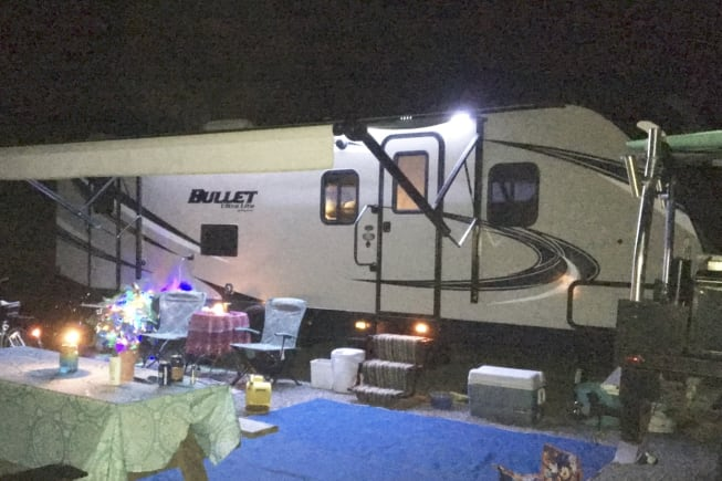 Power awning, outdoor lights and speakers