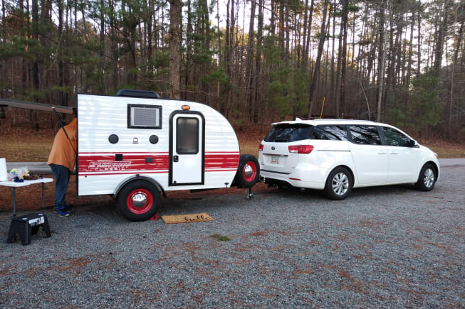 Tiny teardrop rental. All inclusive. All supplies fit neatly in this darling camper. All you need to pack is your sleeping bag, pillow, clothes and food.