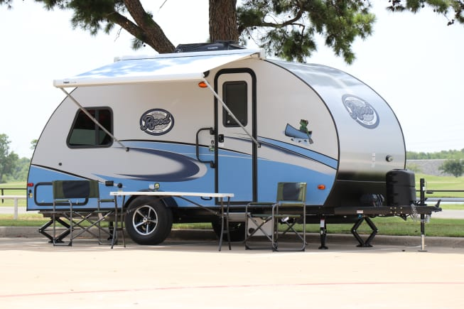 Modern retro style bunkhouse camper loaded with features.