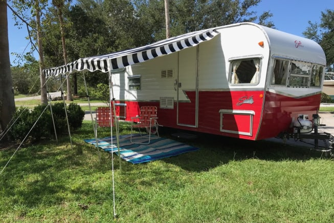 2016 Shasta Airflyte with awning deployed. Ready for camping.