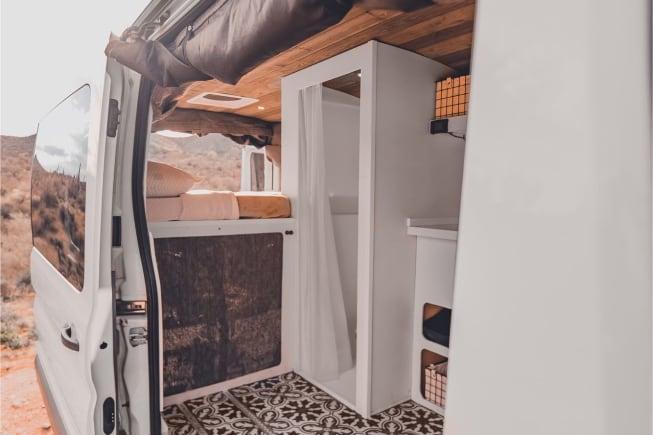 Attractive tile floor and indoor shower
