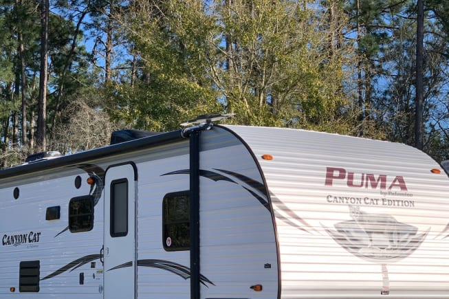 """Your home on wheels. Sleeps 9 and we have this baby we call """"Lucy"""" equipped with all of the comforts of home!"""