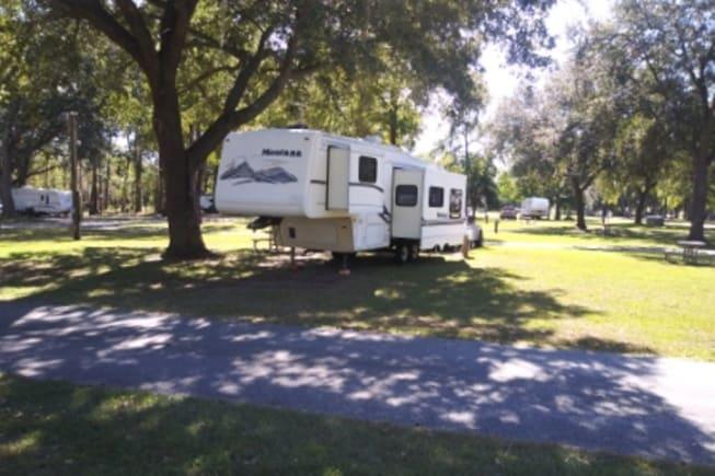 Camper while staying at Oak Plantation Campground on John's Island near Charleston, SC.