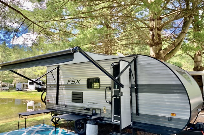 Exterior with 12' electric awning